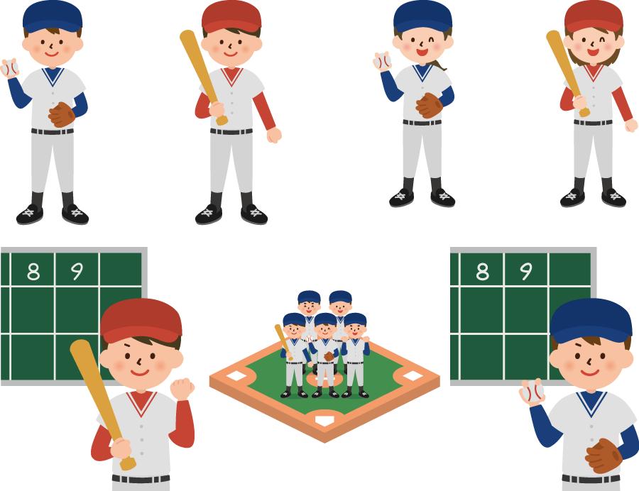 フリーイラスト 7種類の野球部の男子と女子のセット