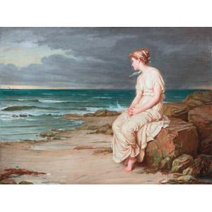 フリー絵画, ジョン・ウィリアム・ウォーターハウス, 物語画, シェイクスピアの作品, テンペスト, 女性, 手を組む, 海, 眺める, 海岸, 嵐