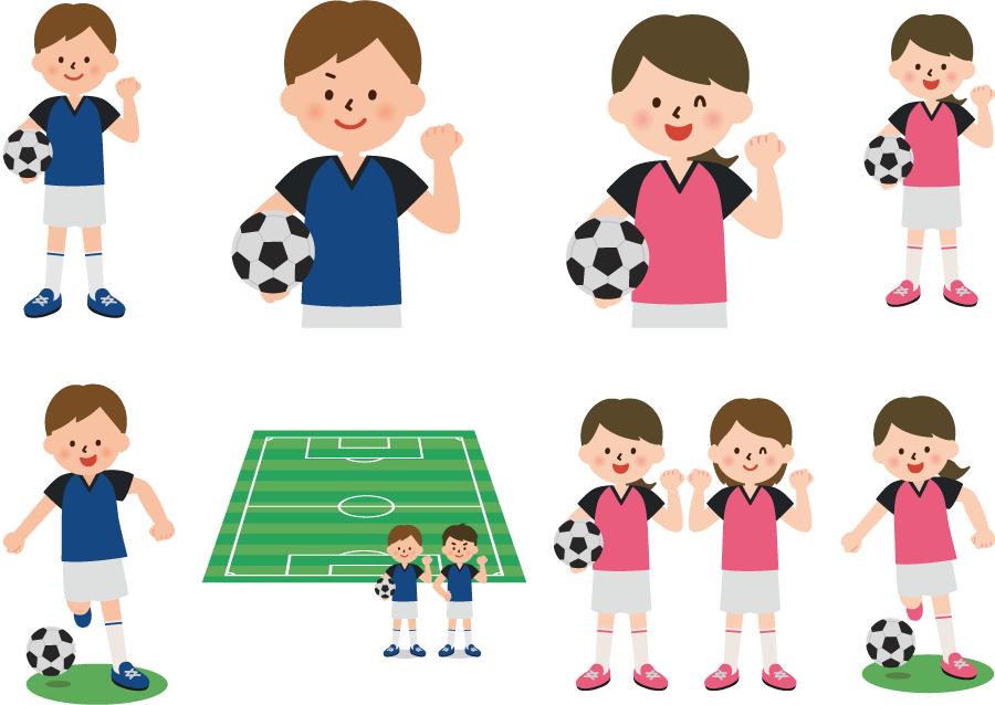 フリーイラスト 8種類のサッカー部の男子と女子のセット