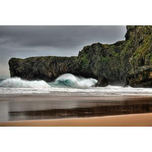 フリー写真, 風景, 自然, 海, 波, ビーチ(砂浜), 海岸, 崖, スペインの風景