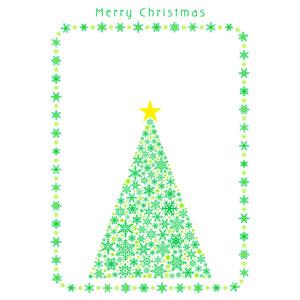 フリーイラスト, ベクター画像, AI, 背景, フレーム, 囲みフレーム, 年中行事, クリスマス, 12月, 冬, クリスマスツリー, 雪の結晶, メリークリスマス