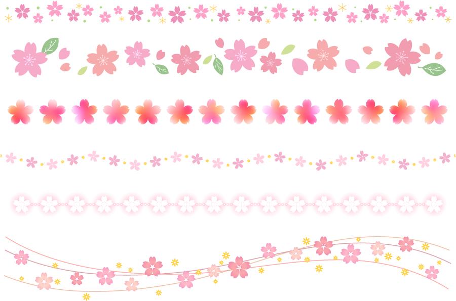 フリーイラスト 6種類の桜の花の飾り罫線のセット