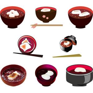 フリーイラスト, ベクター画像, AI, 食べ物(食料), 菓子, 和菓子, 餅菓子, ぜんざい(汁粉), お椀