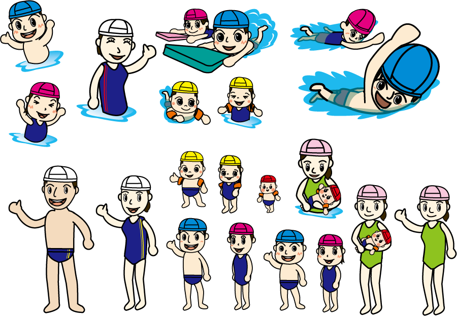 フリーイラスト 水泳教室の人々のセット