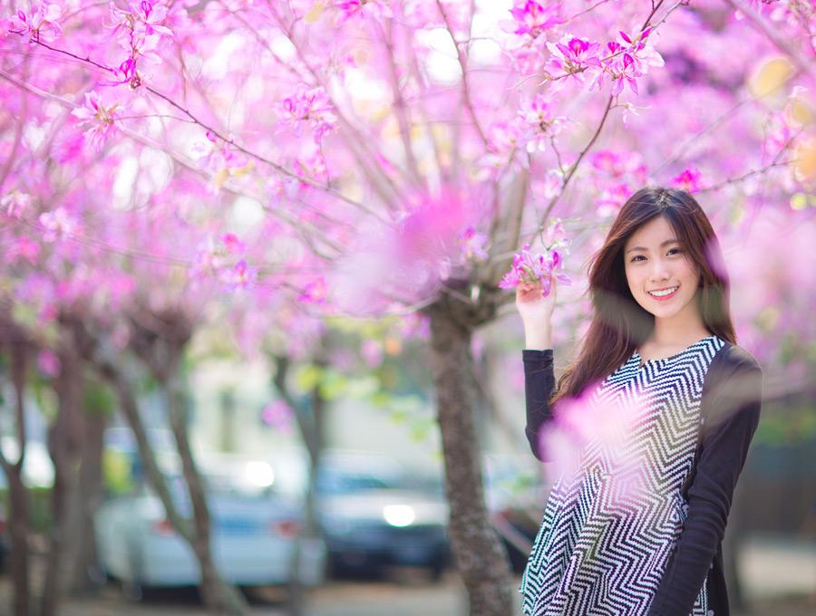 フリー写真 花の咲く木と女性ポートレイト