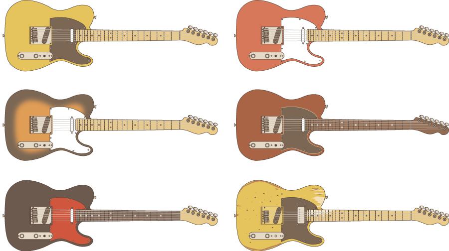 フリーイラスト 6種類のエレキギターのセット