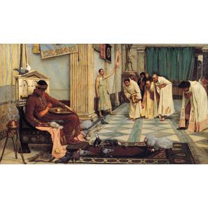フリー絵画, ジョン・ウィリアム・ウォーターハウス, 歴史画, 皇帝(エンペラー), 人と動物, 鳥(トリ), 鳩(ハト), 鶏(ニワトリ), 頭を下げる