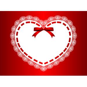 フリーイラスト, ベクター画像, EPS, 背景, フレーム, ハートフレーム, ハート, レース編み, 蝶リボン, 赤色(レッド)