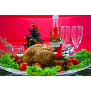 フリー写真, 食べ物(食料), 料理, 肉料理, ローストチキン, 鶏肉料理, 年中行事, クリスマス, 12月