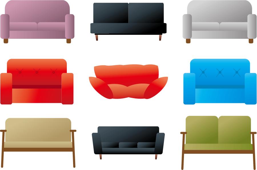 フリーイラスト 9種類のソファーのセット