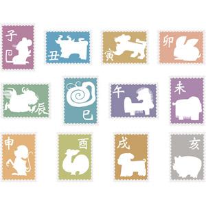 フリーイラスト, ベクター画像, AI, 郵便, 切手, 年賀状, 干支(十二支), 子年, 丑年, 寅年, 卯年, 辰年, 巳年, 午年, 未年, 申年, 酉年, 戌年, 亥年