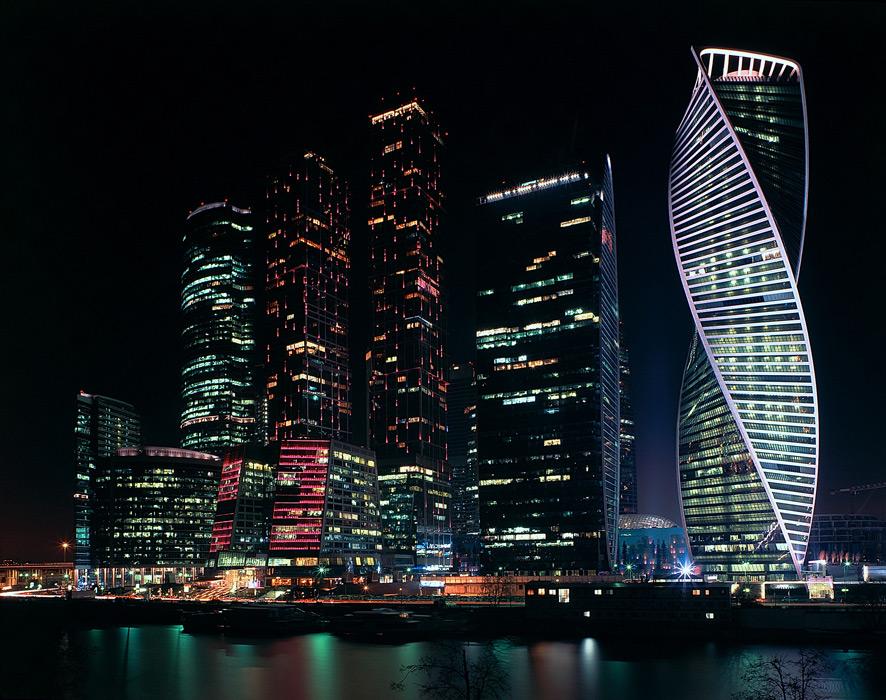 フリー写真 モスクワの都市の夜景