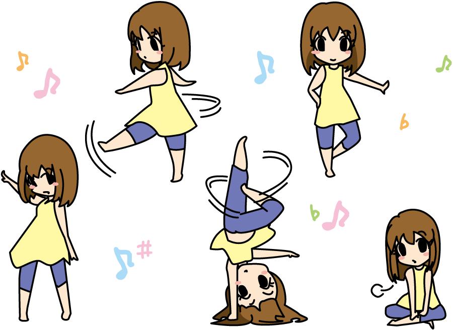 フリーイラスト 5種類のダンスガールのセット