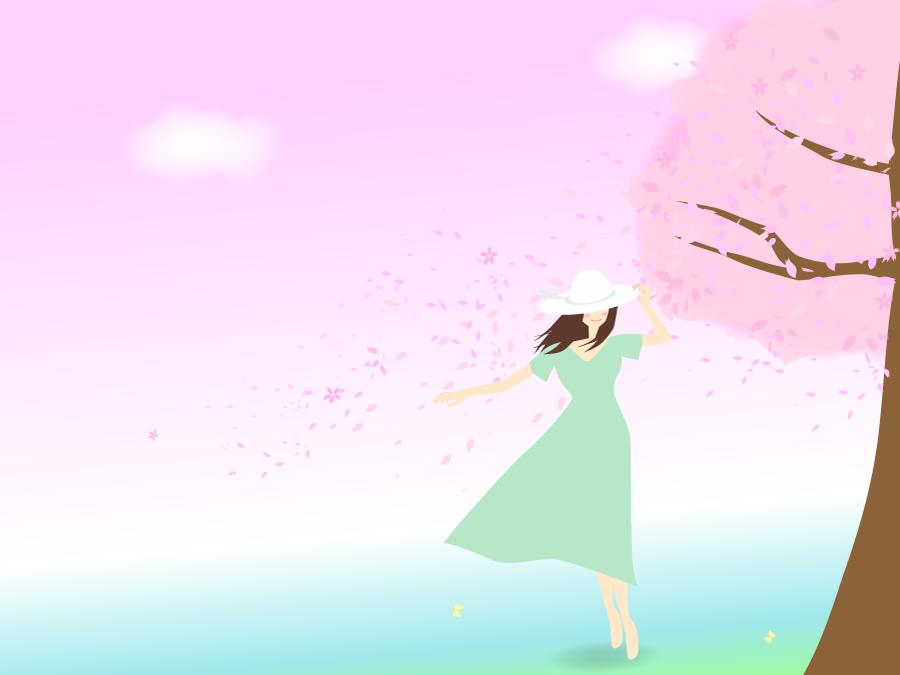 フリーイラスト 満開の桜の木と帽子を被る女性