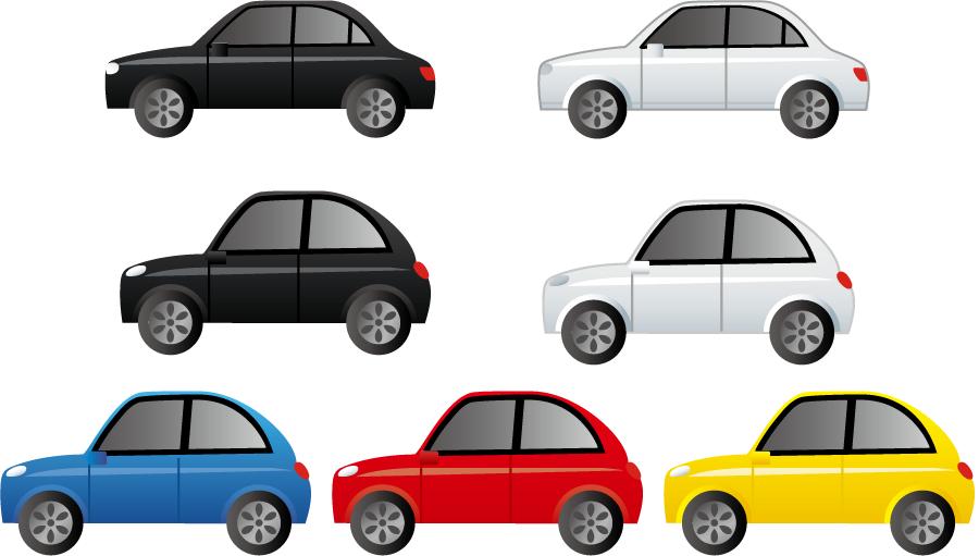 フリーイラスト 7種類の自家用車のセット