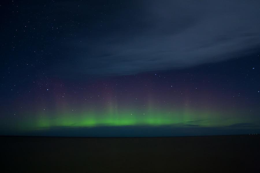 フリー写真 星空とオーロラの風景