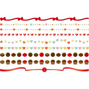 フリーイラスト, ベクター画像, AI, 飾り罫線(ライン), 年中行事, 2月, バレンタインデー, ハート, リボン, チョコレート