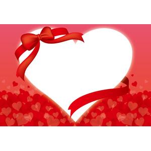 フリーイラスト, ベクター画像, AI, 背景, 年中行事, 2月, バレンタインデー, ハート, 蝶リボン, ハートフレーム, フレーム