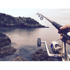 フリー写真, 人体, 手, 海岸, 海, 魚釣り(フィッシング), 釣り竿, リール