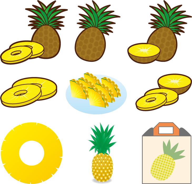 フリーイラスト 9種類のパイナップルのセット