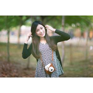 フリー写真, 人物, 女性, アジア人女性, 楚珊(00053), カメラ, 髪の毛を触る