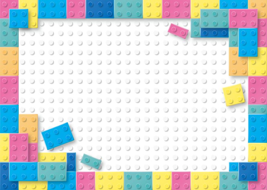 フリーイラスト おもちゃのカラフルなブロックの飾り枠