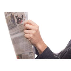 フリー写真, 人体, 手, 新聞, 白背景