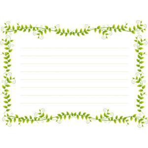 フリーイラスト, ベクター画像, EPS, 背景, フレーム, 囲みフレーム, 便箋(便せん), 植物, 葉っぱ