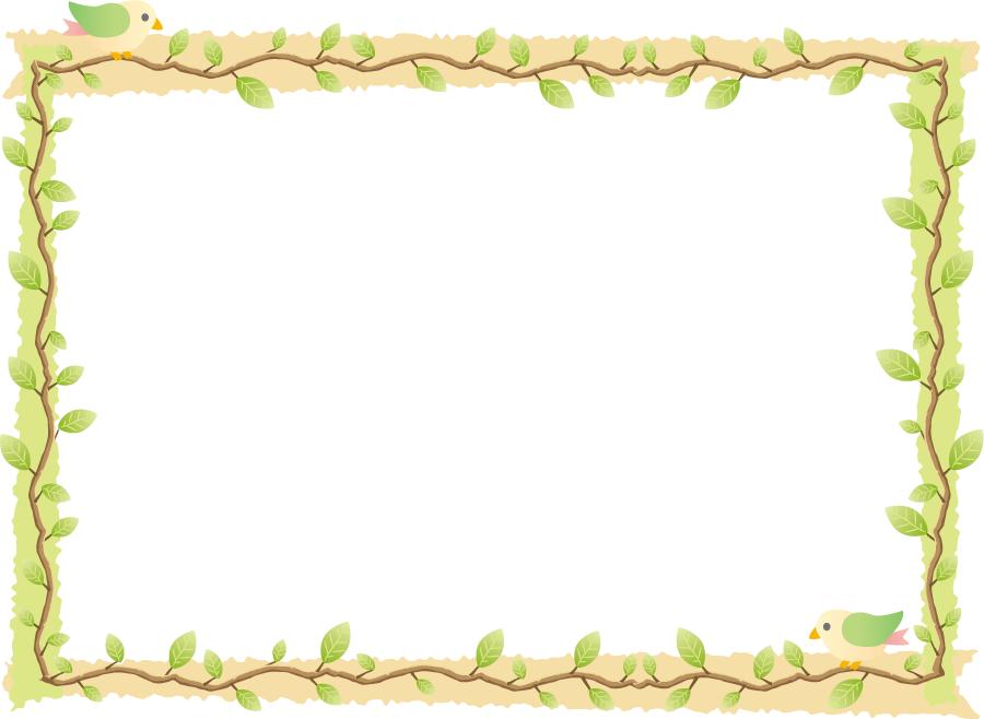 フリーイラスト 木の枝と鳥の飾り枠