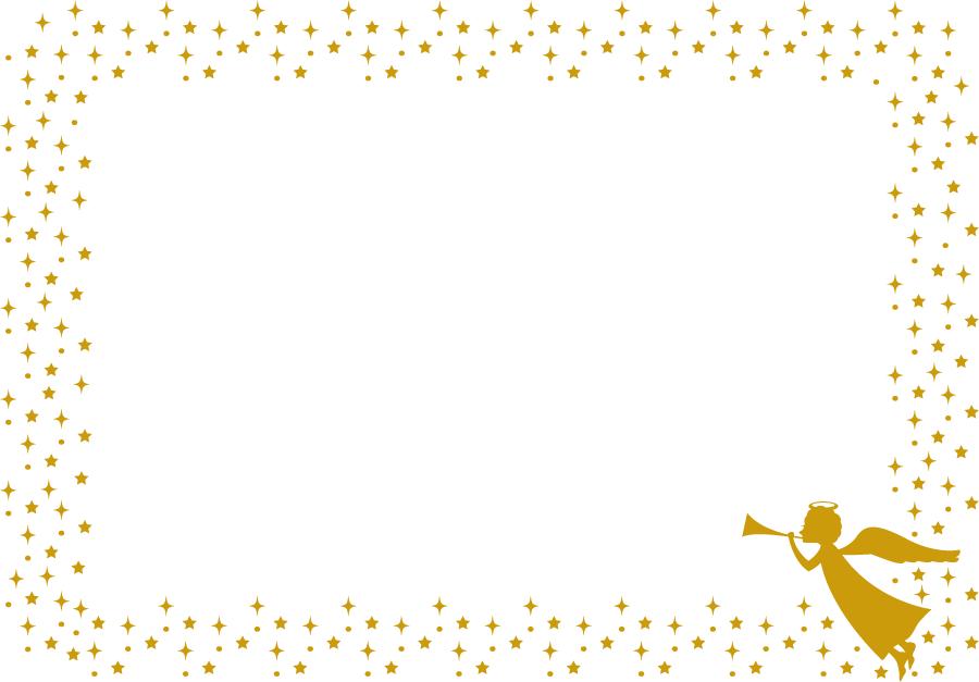 フリーイラスト ラッパを吹く天使と輝く星の飾り枠