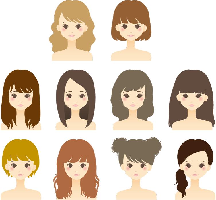 フリーイラスト ヘアスタイルの違う10人の女性のセット