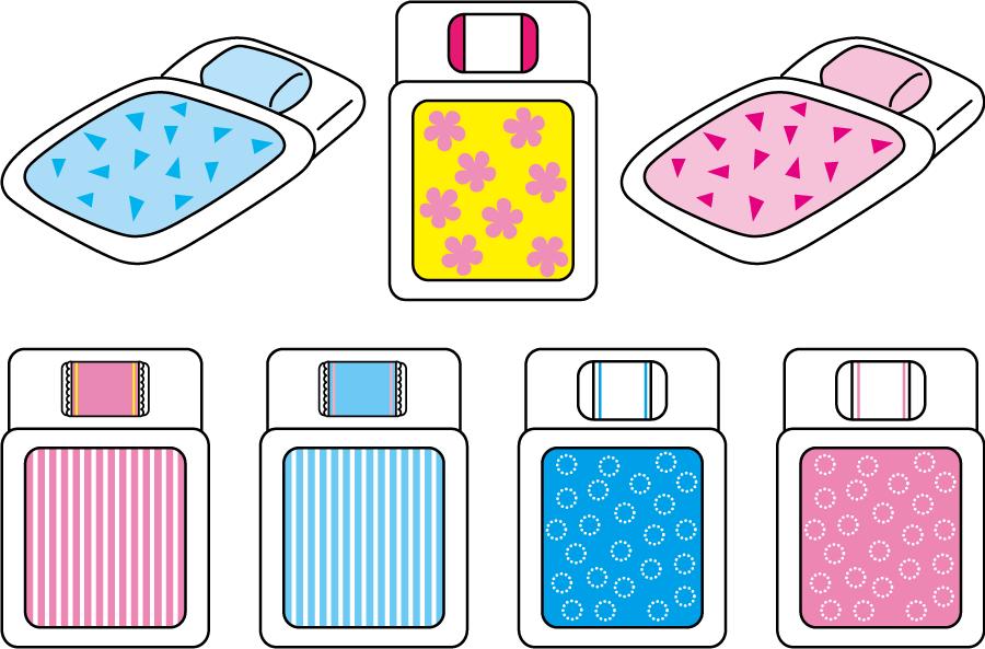 フリーイラスト 7種類の敷いた布団のセット