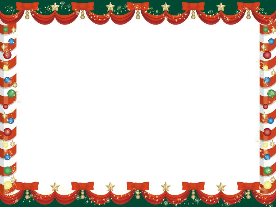 フリーイラスト クリスマス飾りのフレーム