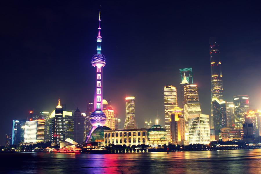 フリー写真 上海市の街の夜景