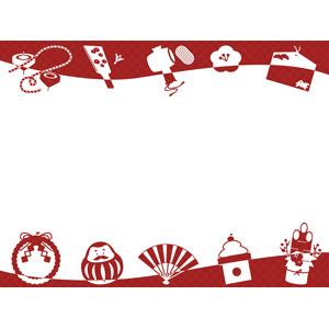 フリーイラスト, ベクター画像, AI, 背景, フレーム, 上下フレーム, 年中行事, 正月, 1月, 元旦(元日), 独楽(こま), 羽根突き, 打ち出の小槌, だるま(ダルマ), 絵馬, 注連飾り(しめ飾り), 扇子, 鏡餅, 門松