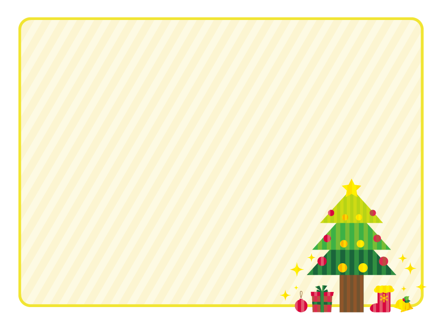 フリーイラスト クリスマスツリーの飾り枠