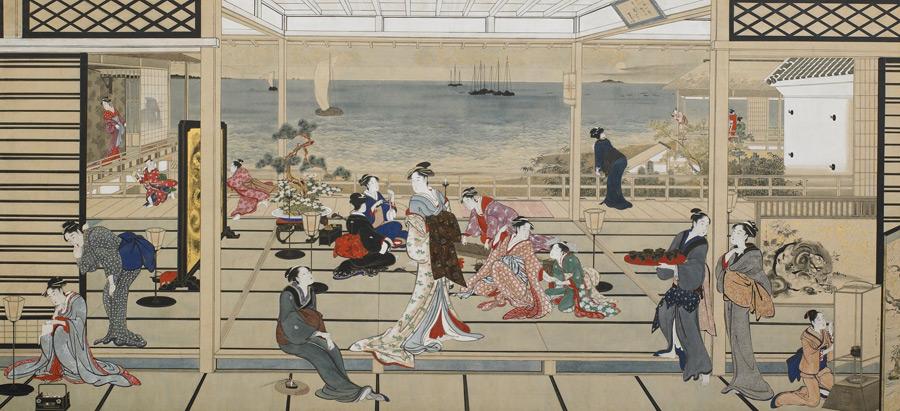 フリー絵画 喜多川歌麿作「品川の月」
