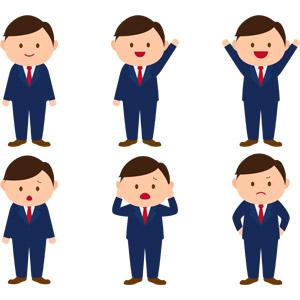 フリーイラスト, ベクター画像, AI, 人物, 男性, ビジネス, ビジネスマン, サラリーマン, 職業, 仕事, 手を振る, 手を上げる, 万歳(バンザイ), 喜ぶ(嬉しい), 頭を抱える, 困る, 失敗, 怒る