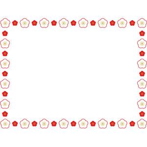 フリーイラスト, ベクター画像, AI, 背景, フレーム, 囲みフレーム, 梅(ウメ), 花柄, 年中行事, 正月, 元旦(元日), 1月