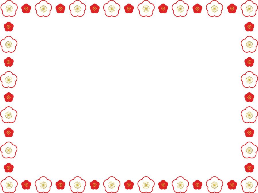 フリーイラスト 紅白の梅の花の飾り枠