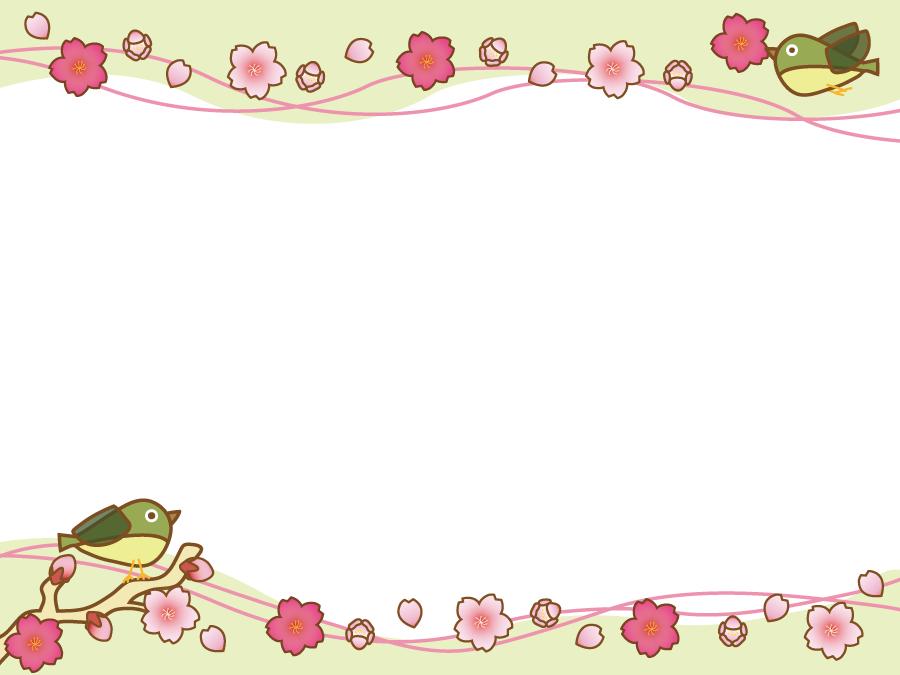 フリーイラスト 桜の花とメジロの飾り枠