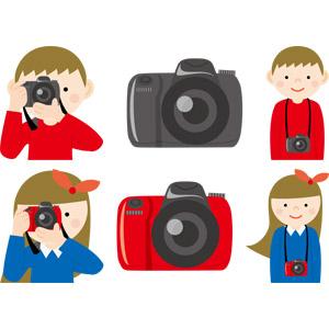 フリーイラスト, ベクター画像, AI, 人物, 少年, 少女, カメラ, 一眼レフカメラ, 写真撮影, 家電機器