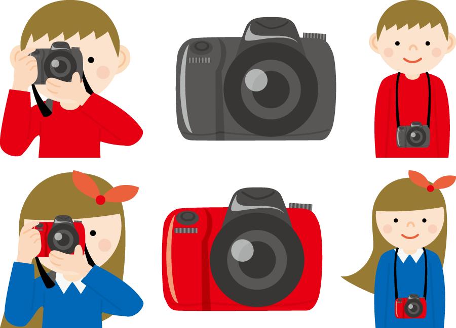 フリーイラスト 6種類の一眼レフカメラとカメラ男子とカメラ女子のセット
