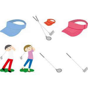 フリーイラスト, ベクター画像, AI, 人物, 男性, 女性, ゴルファー, スポーツ, 球技, ゴルフ, ゴルフクラブ, サンバイザー