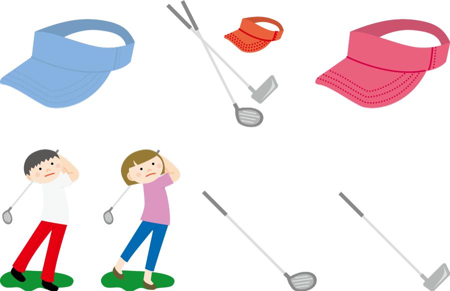 フリーイラスト ゴルファーとゴルフクラブとサンバイザーのセット