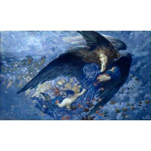フリー絵画, エドワード・ロバート・ヒューズ, 寓意画, 天使(エンジェル), 大天使, 鳥(トリ), 群れ, しーっ(静かに), 夜, 星(スター)