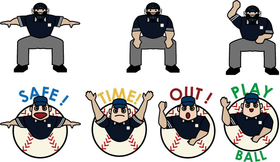 フリーイラスト 7種類の野球の審判のセット