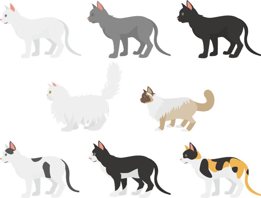 フリーイラスト 白猫や黒猫や三毛猫などの8種類の猫のセット