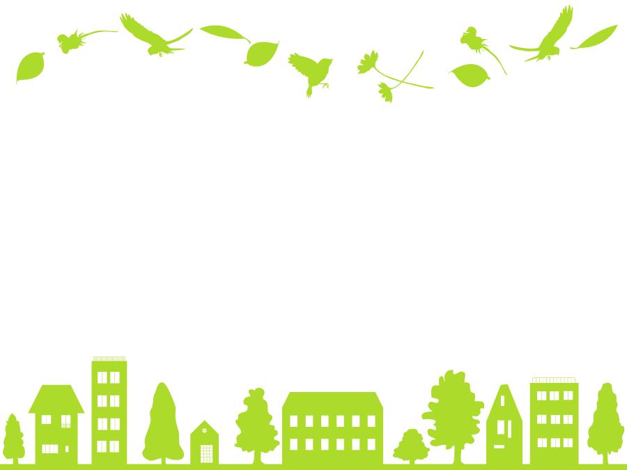 フリーイラスト 鳥と植物と街の緑のシルエットの飾り枠