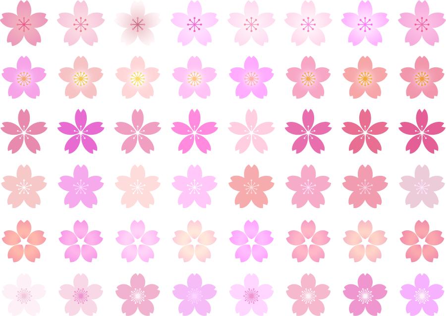 フリーイラスト 48種類の桜の花のセット